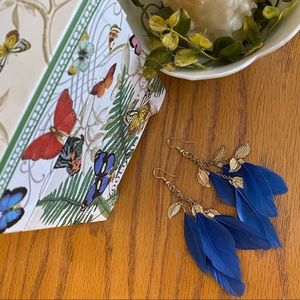 Jewelry - Blue Boho Feather Earrings